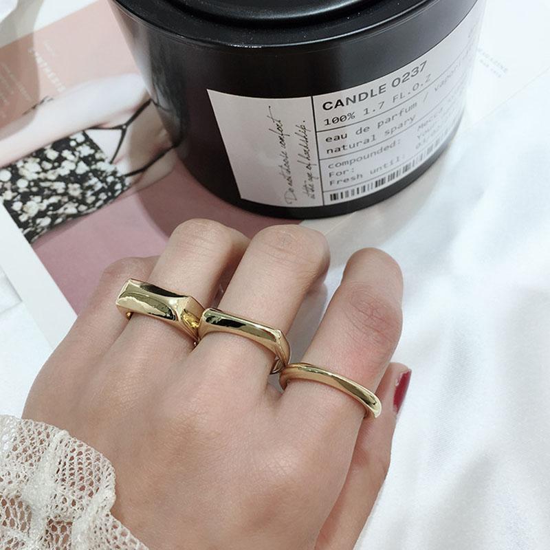 Estilo simple anillo de metal irregular exagerada INS anillos de banda para las personalidades del partido de las mujeres club nocturno de los anillos de las señoras