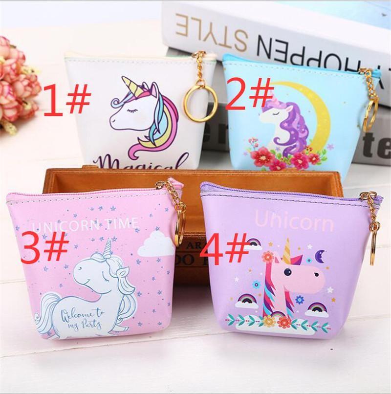 1X Colorful Unicorn Girl Wallet Coin Purse Card Key Mini Pouch Kid Birthday Gift
