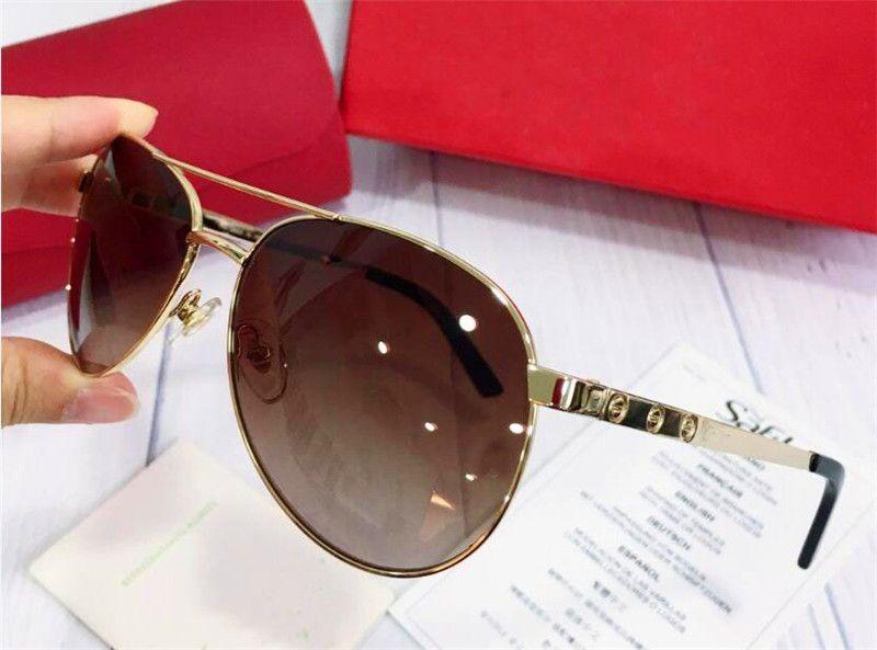 Nowy projektant mody Mężczyźni okulary przeciwsłoneczne T8200881 Metalowa rama pilotowa Proste klasyczne styl lustro nogi małe koło z pudełkiem