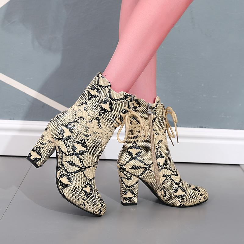 LASPERAL Women's Winter High Heel Shoes Zipper Boots Snake Print Ankle Boots Square Heel Fashion Pointed Toe Ladies Sexy Shoes