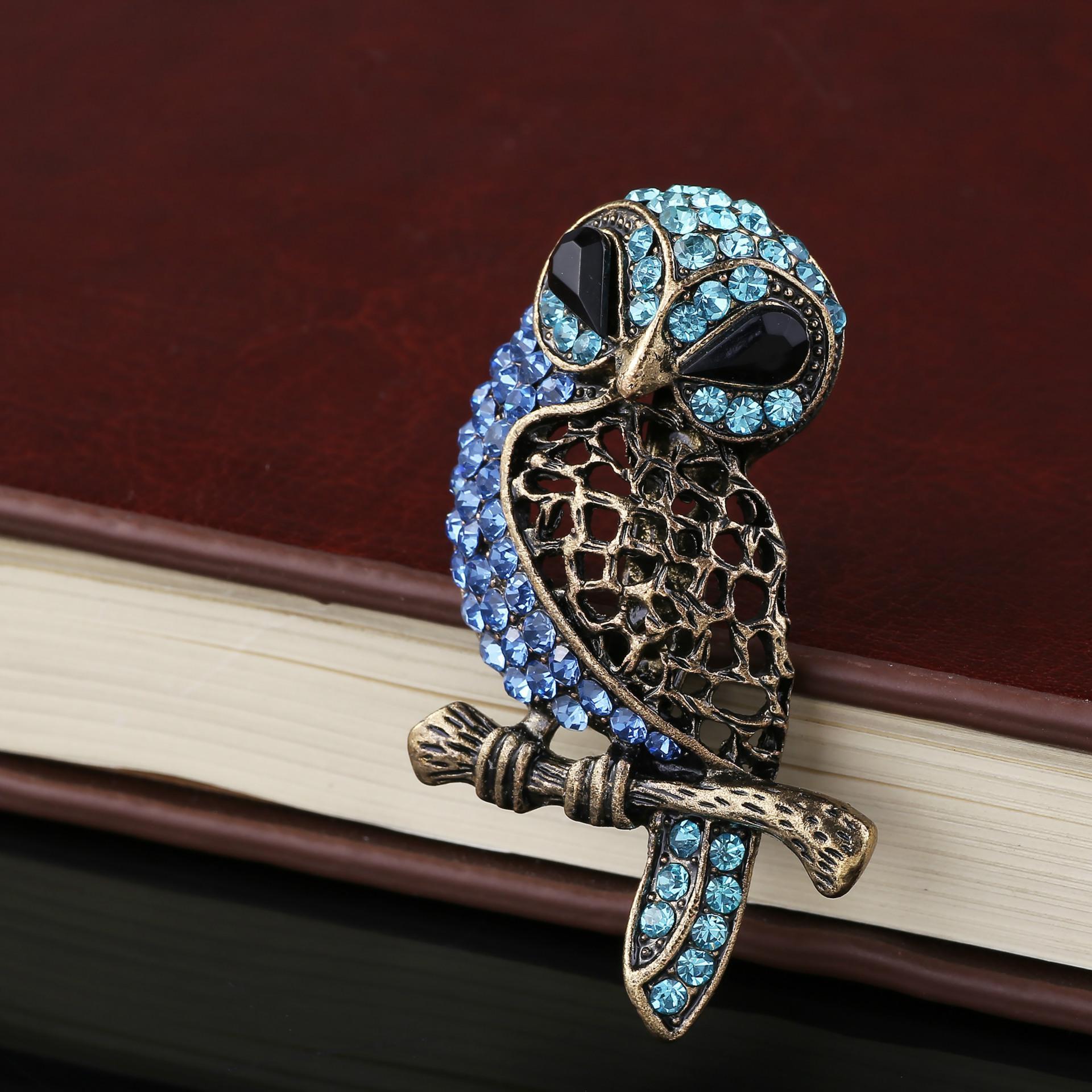 Pin de mama broche del buho cristalino de la vendimia diamante Broochpin de la joyería del partido