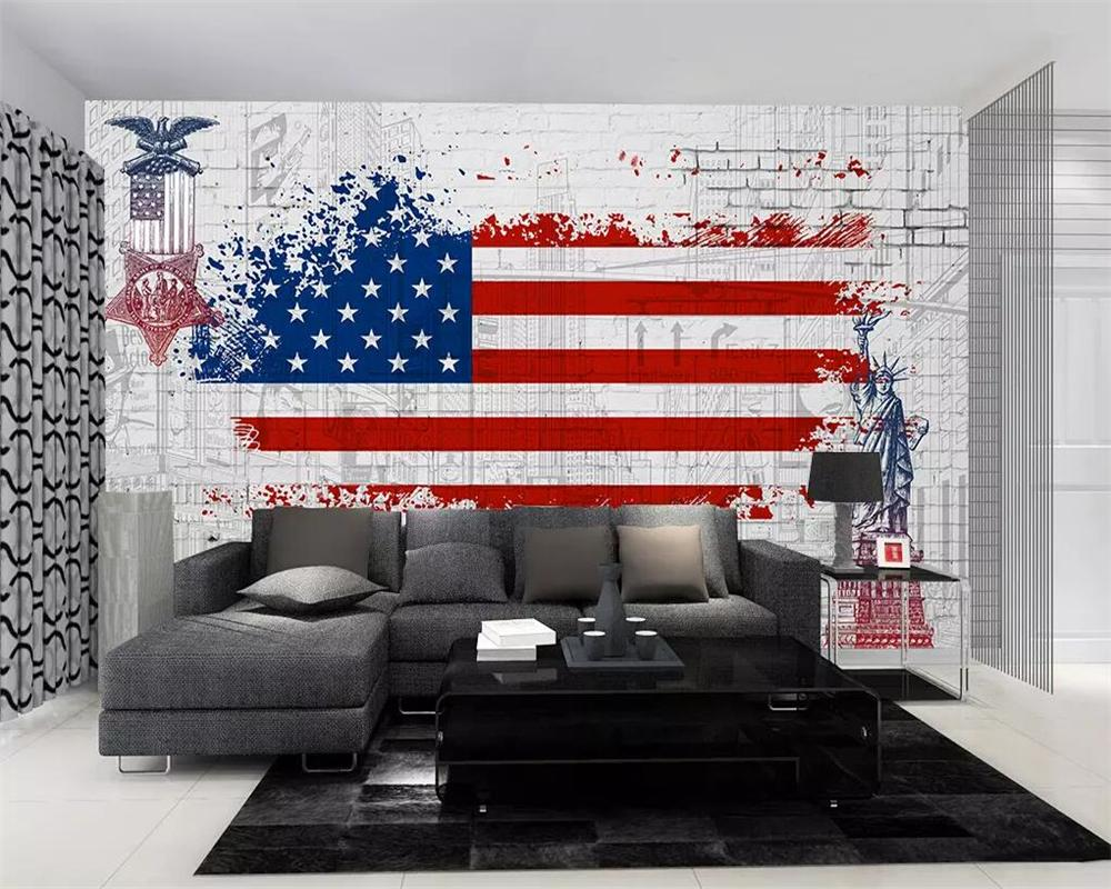 Custom Wallpaper Retro American Flag Graffiti Tv Background Walls