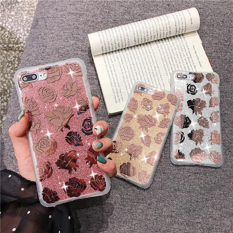 Telefono per l'iPhone Caso 11 Pro Max XR XS Max 7 8 Plus X Placchi glitter rosa della radura del fiore molle della copertura posteriore Coque regalo di promozione