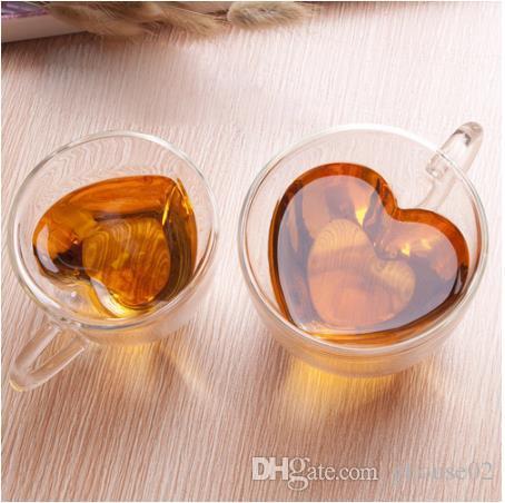 180ml / 240ml 심장 사랑 모양의 차 맥주 머그잔 주스 컵 커피 컵 머그잔 선물 이중 벽 유리 머그잔 열 저항 음료 용기