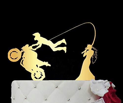 Espejo de acrílico de oro de la motocicleta de la bici de la torta de boda / Enganchado en Amor de la torta / acolchados de compromiso