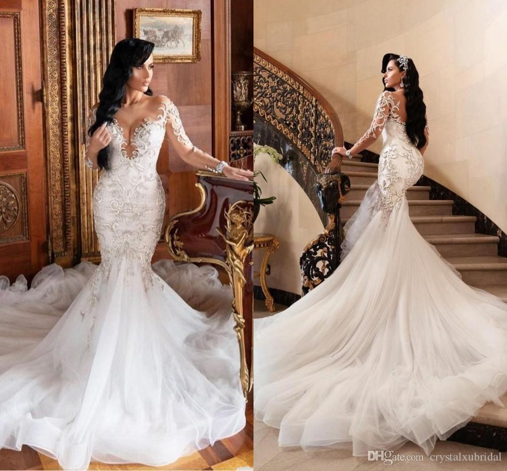 2020 Sexy Arabic Luxury Long Sleeves Crystal Beading Mermaid Wedding Dresses Lace Appliques Sheer Open Back Plus Size Formal Bridal Gowns