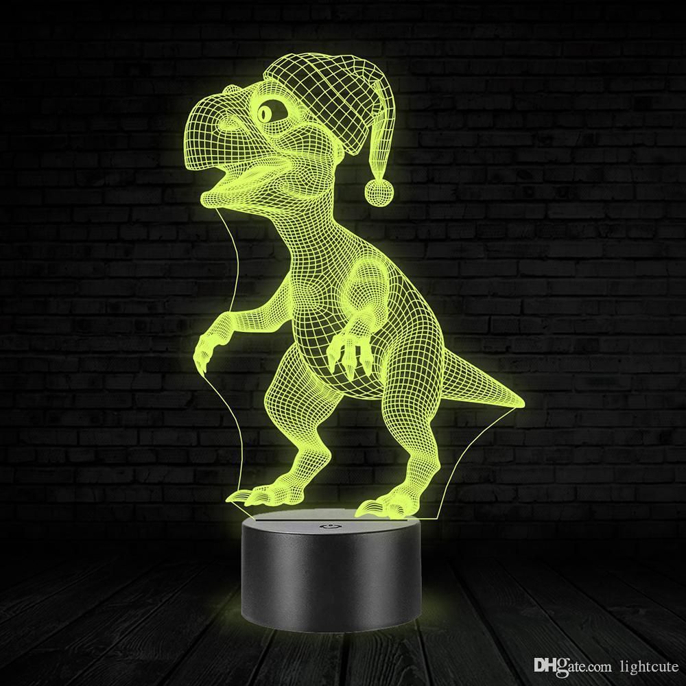 3D Dinozor Basketbol Vision Gece Işığı, Dokunmatik 7 Renk Değişim, Noel Şapka LED Lamba Çocuk Doğum Hediye Boy Kız Çocuk Oyuncak Oyun
