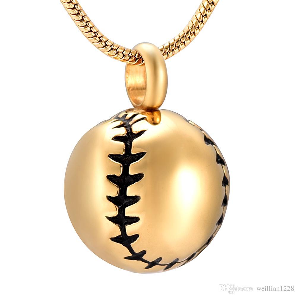 ZZL149 Petite Baseball Forme Garçon Collier Mémorial Bijoux Pour Crémation Ashes Souvenir Urne Pendentif Collier Pour FemmesHommes
