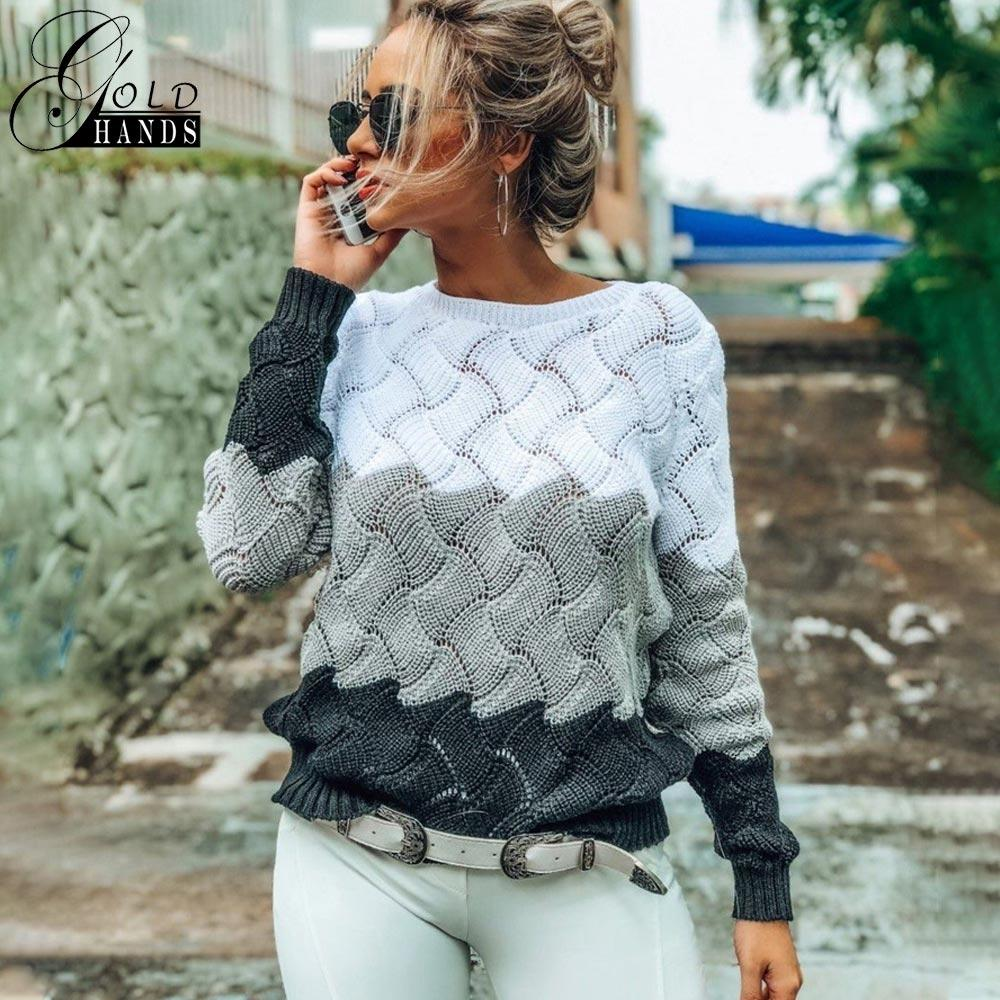 Gold Hands New Women Vintage Splice Autumn Ladies Pullover Jumper Winter Long Sleeve Crewneck Knitted Pullover Sweater Free Ship CJ191209