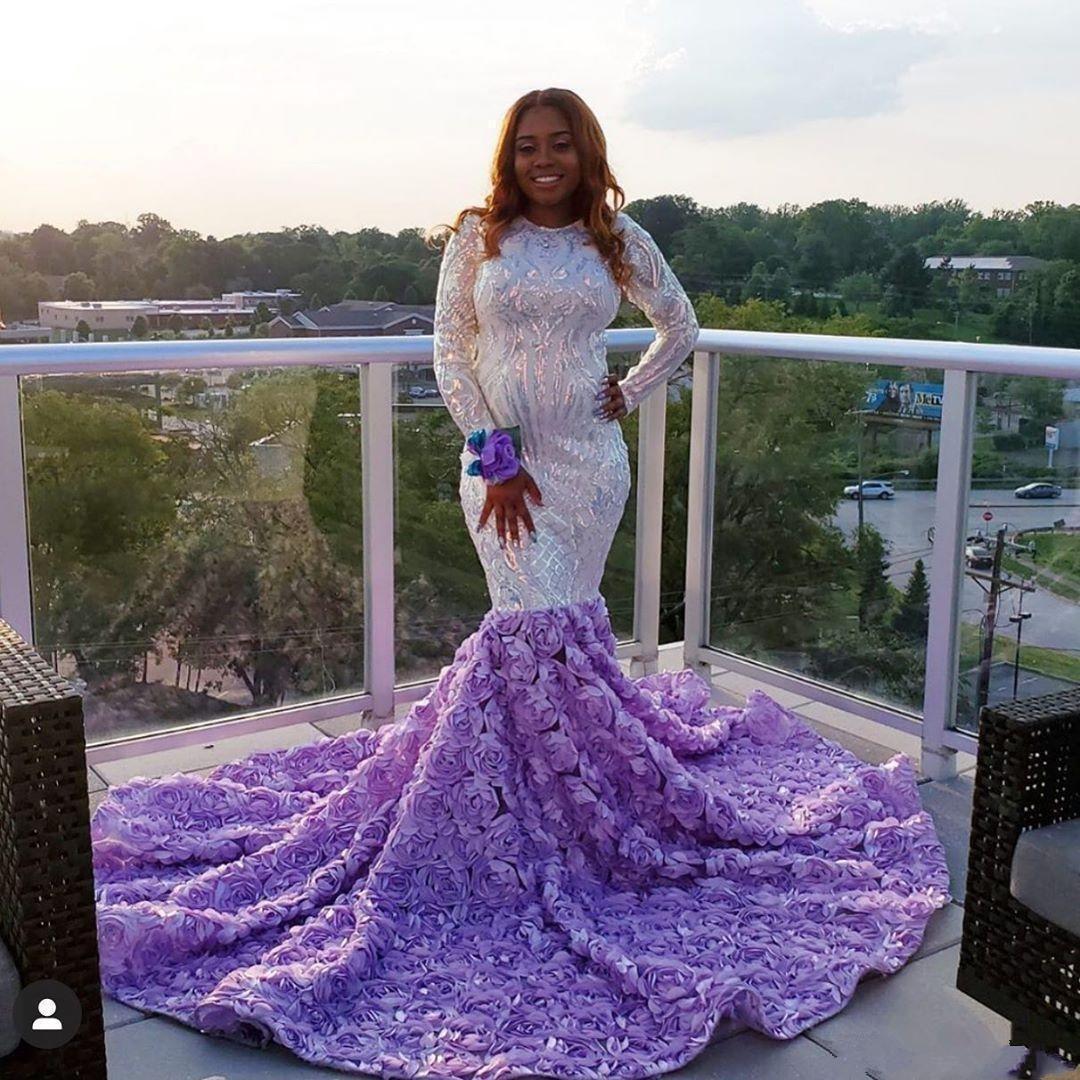 Blanc Sequines filles noires à manches longues sirène Robes de bal 2020 pailletée SOIRÉE Robes Robe vestidos de fiesta Abendkleider