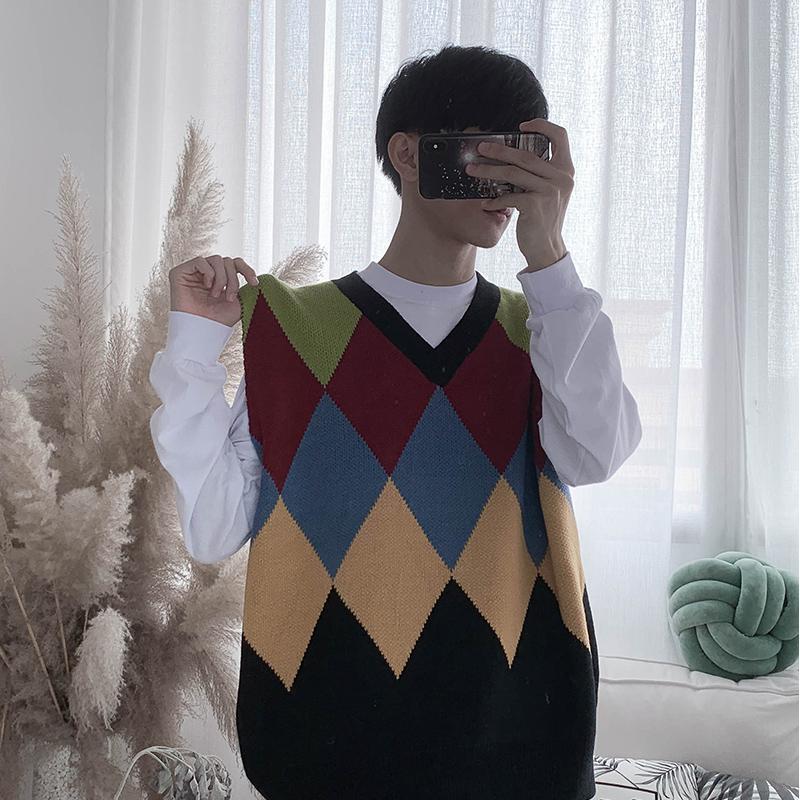2019 New College de moda de estilo retro contraste flojo del diamante del color V-cuello del chaleco del suéter de punto Casual Hombres