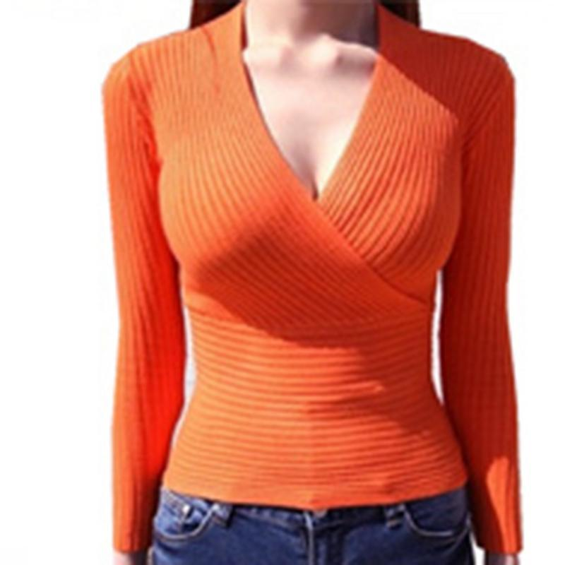 ربيع الموضة مثير المرأة عارضة الخامس الرقبة سترة تسع نقاط الأكمام قصيرة المنخفضة قطع عالية المرونة ضيقة البلوز البلوز