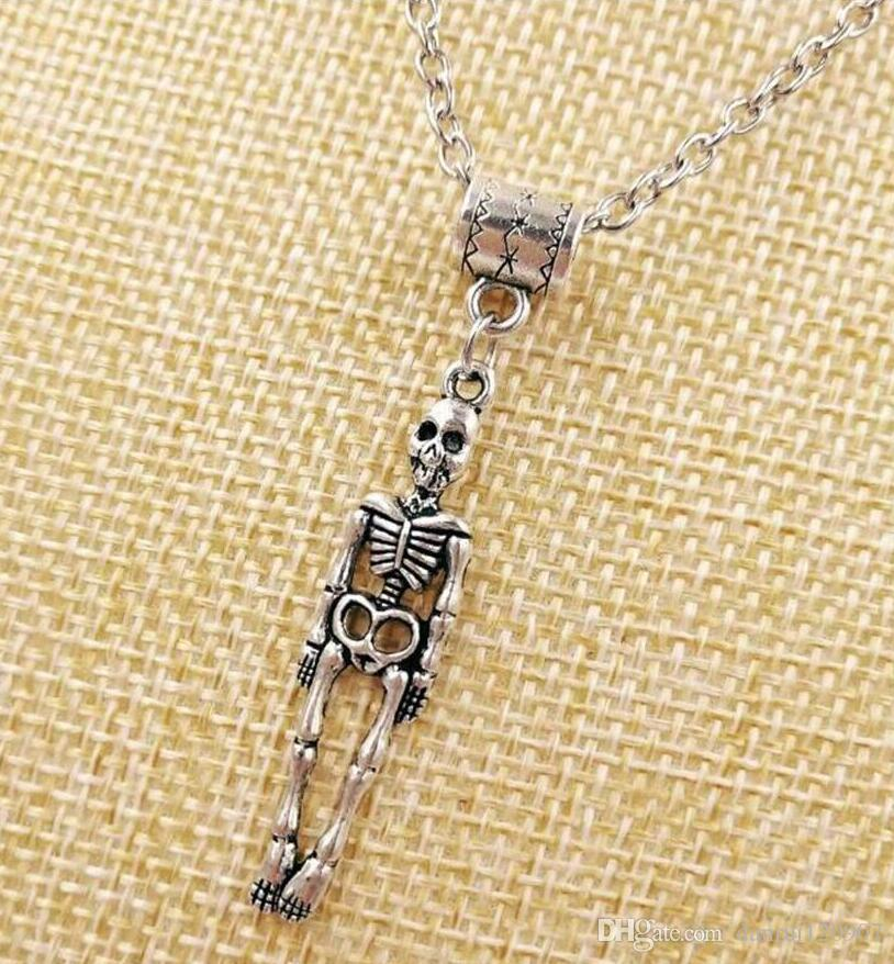 HOT Fashion Vintage silver Medical Human Skeleton Charm Pendant sweater chain suitable Necklace DIY jewelry For Women Gift - 51