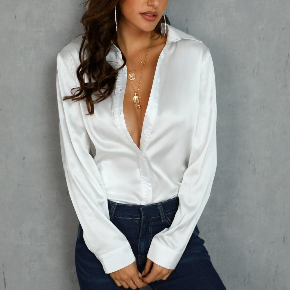 Women OL Satin Silk Blouse Button Ladies Silk Satin Blouse Shirt Casual White Black Gold Red Long Sleeve Satin Blouse Top T200321