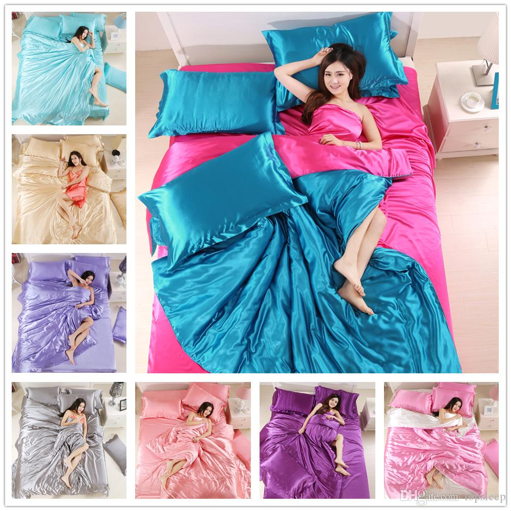 Home Textile 100% silk bedding set Family suite for women adult Comforter Cover Set 2/3pcs with pillowcase matching color of Bedding Cover