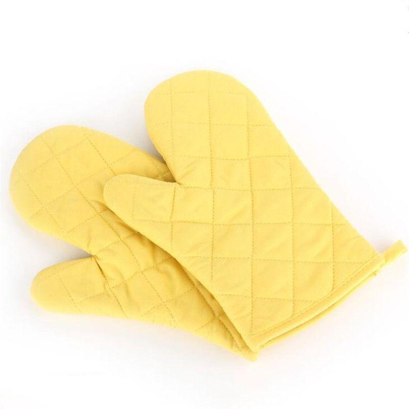 Nouvelle cuisson du four Gants Mitaines haute température résistant à micro-ondes Isolation anti-brûlure jaune Mitts Épaississement Allongé