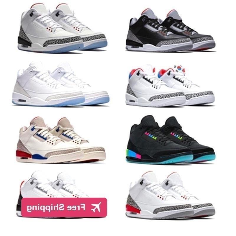 Miktar kutusu ile yüksek 3 Beyaz Siyah Çimento Kızılötesi 23 3 S basketbol ayakkabıları erkekler için tasarımcı Kurt Mavi spor Retro J3 Sneakers