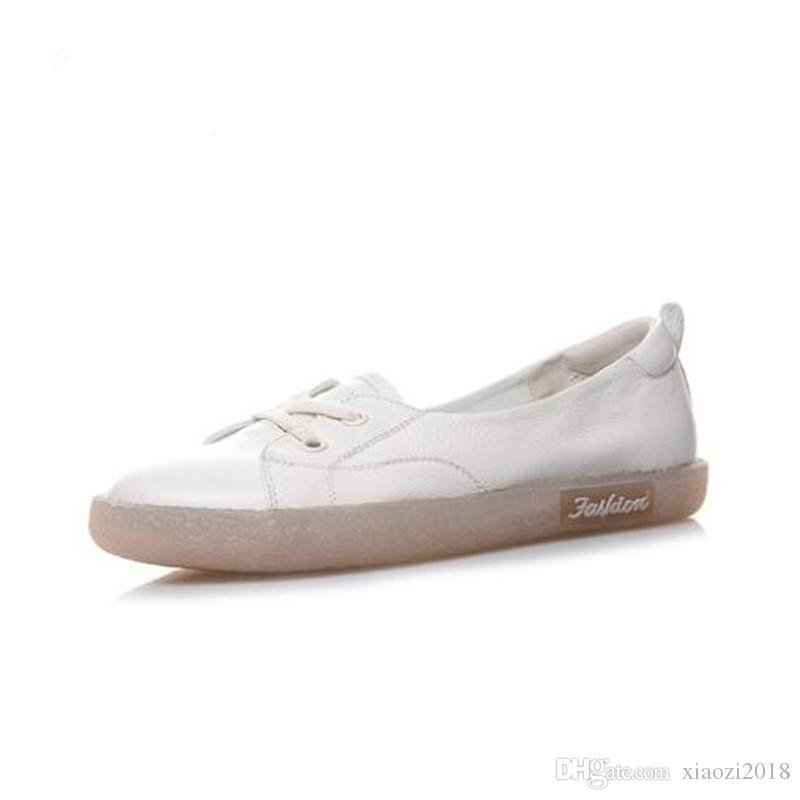 2019 Nouvelle Automne à lacets Chaussures Femme Blanc Sneakers Chaussures Casual Chaussures plates souple Confortable antidérapants en cuir Portez des chaussures d'origine