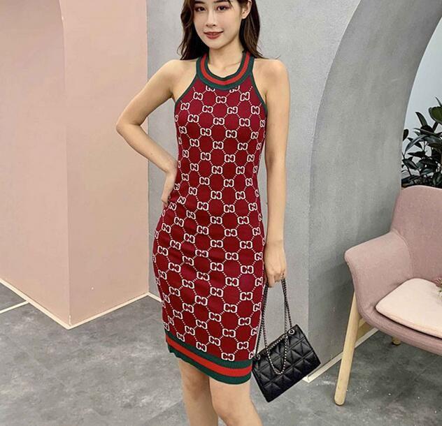 Короткие красные вязаные платья Woman Party Night без рукавов с принтом Элегантный халат Femme 2019 Мини-летнее сексуальное клубное облегающее платье