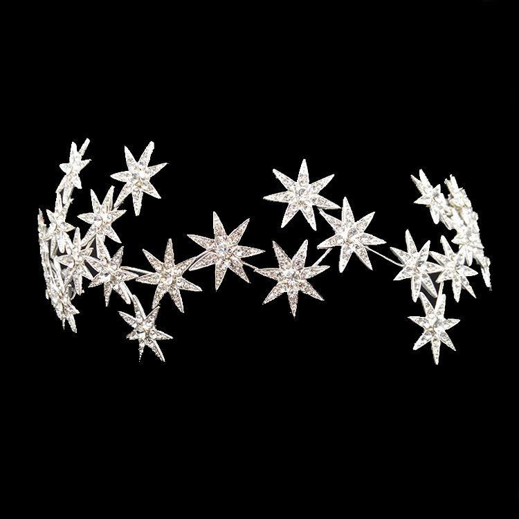 Luxury Sparkling Bridal Crown Headband Tiaras Silver Crystal Stars Crowns Wedding Hair Jewelry Accessories Women Girls Headpiece Y19051302
