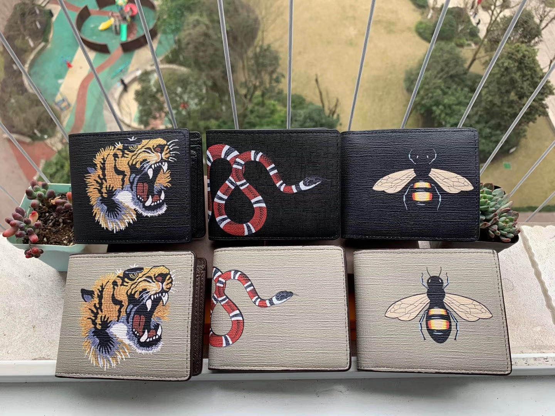 Los titulares de tarjeta de bolsillo de alta calidad de los hombres Animal corto billetera de cuero Negro serpiente tigre abeja carteras mujer larga del estilo del monedero con la caja de regalo