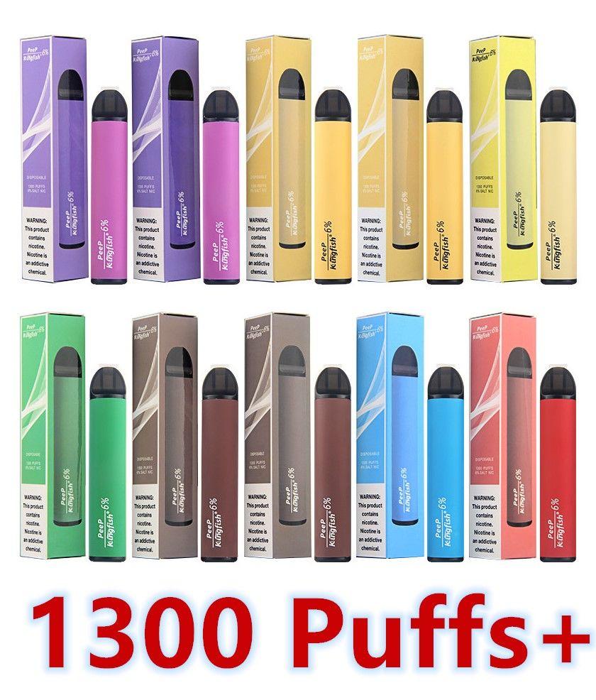 1300 затяжек одноразовая ручка Vape 4,5 мл стручки 900mah Vape Battery 6% NIC Salt E Juice Puff Bars