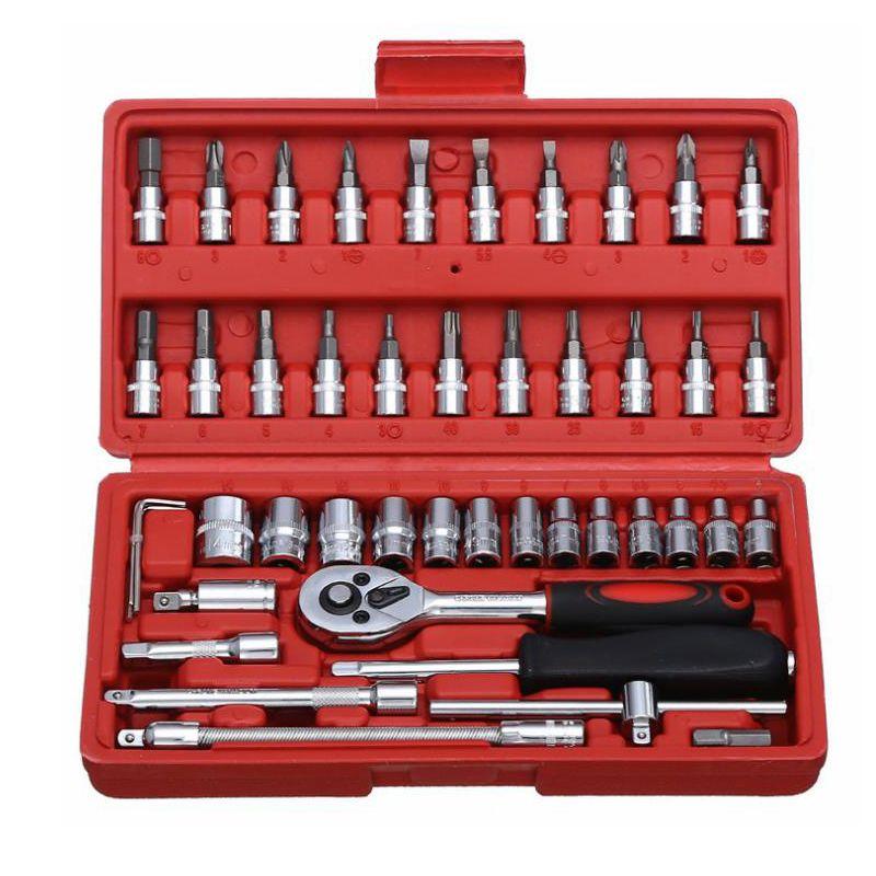 Strumento di riparazione auto 46 pz 1/4 di pollice presa Set strumento di riparazione auto chiave dinamometrica a cricchetto Combo Tools Kit di riparazione auto