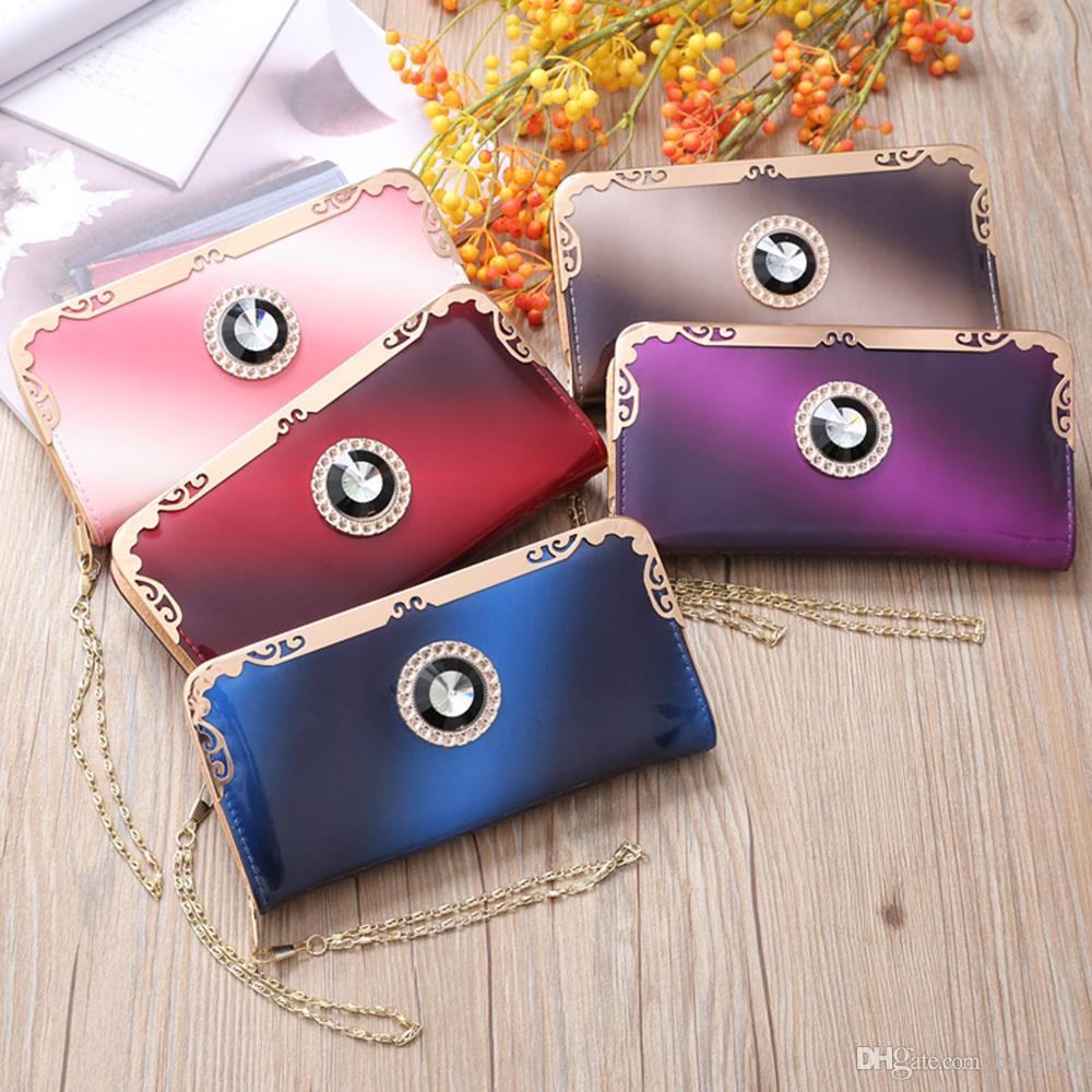 النساء حلوى لون حجر الراين wristlets الفاصل بطاقة محافظ بو الجلود سستة المحافظ عملة الحقائب الفتيات اليد منظم محافظ