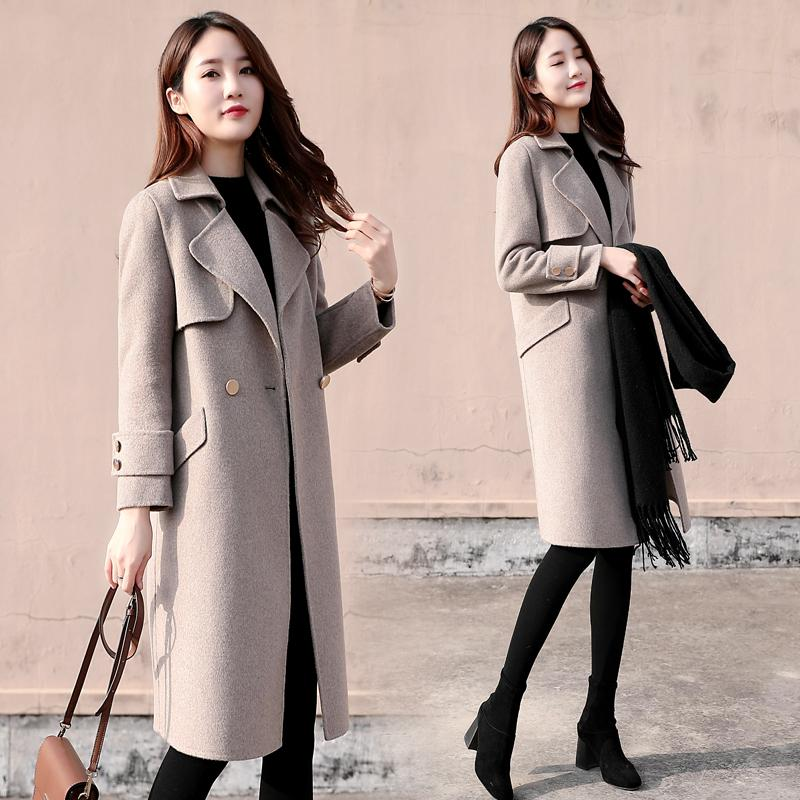 2020 nouveaux manteau de laine de femmes coréennes lâche section féminine populaire à long automne hiver manteau de laine vent Hepburn Mujer Pardessus