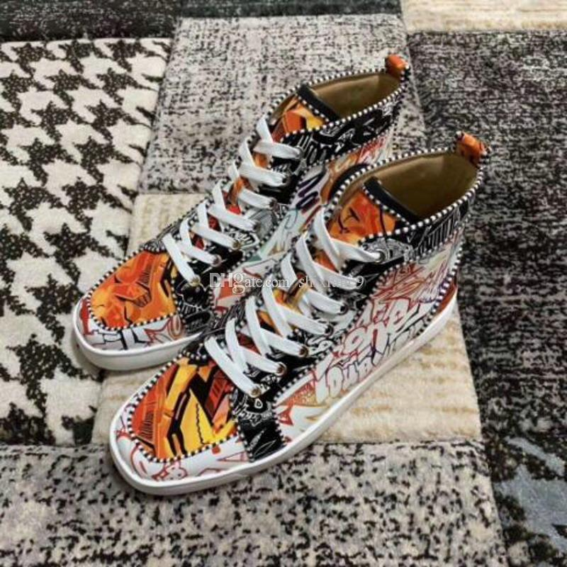 Wholesale Brand Red Bottom Sneakers Graffiti Patent Leather Men's Women's Flat High Top Casual Walking Flats -- Party Wedding Dress Shoes