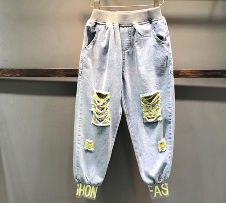 All'ingrosso-2019 di estate nuovi jeans elastici vita alta casuali delle donne del foro allentato dei pantaloni di lunghezza ankel harem