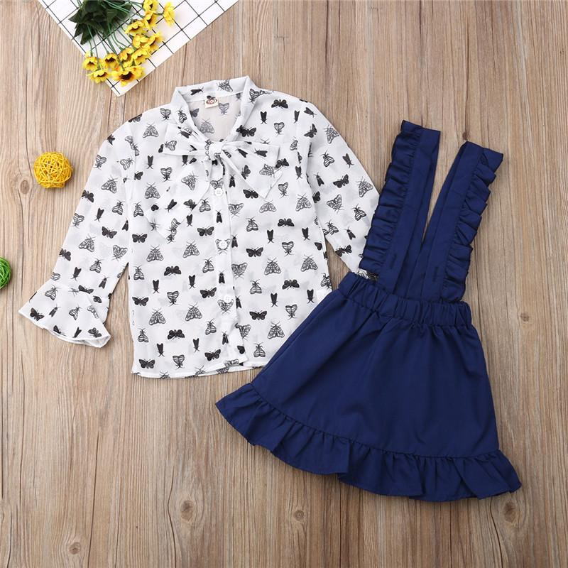 Princess Kids Baby Girl Autumn Outfits Print Flare Sleeve Bowtie Chiffon Ruffle Strap Skirt 2Pcs Girls Wedding Clothes Sets
