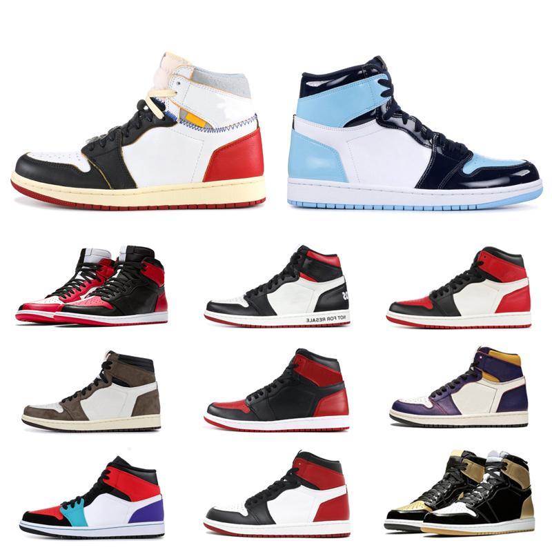Hommage à l'accueil des hommes 1s chaussures de basket-ball 1 Bred Banned Toe Ombre Obsidian Bleu Royal Jaune Formateurs Violet sport Chaussures de sport de 5,5 à 12