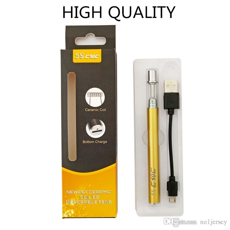 Electronic Cigarette Disposable Vape Pen Kit C10C Vaporizer Pens Ceramic Coil Cartridge 280mAh Battery with Micro USB Charge for Thick Oil