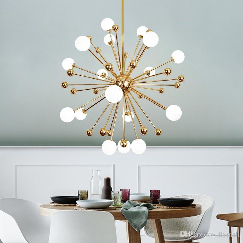 Glass Led Lamp Modern Golden Globe Chandelier Ceiling Living Room Bedroom Dining Room Pendant Light Fixtures Decor Home Lighting