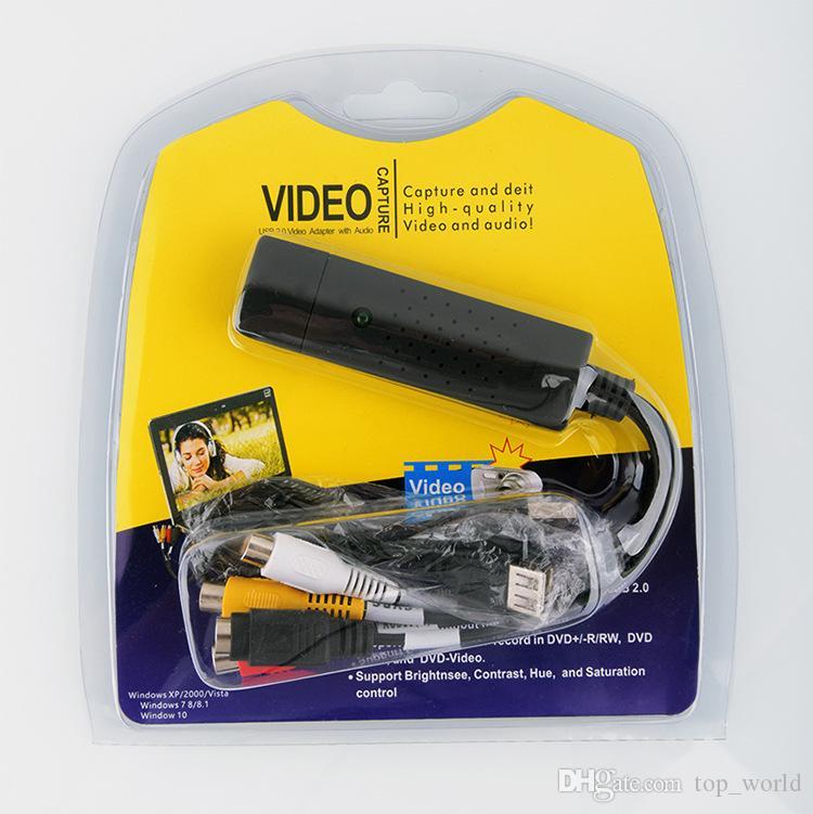 USB2.0 Convertidor de VHS a DVD Convertir video analógico a formato digital Audio Video DVD VHS Tarjeta de captura de grabación de calidad Adaptador de PC