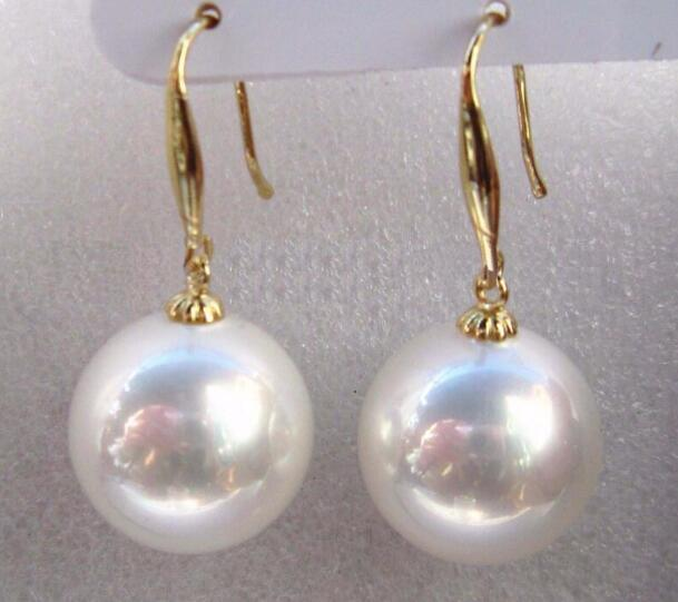 Jewelryr PEARL Earring 5-16mm natural Australian south sea white shell pearl earring Free Shipping