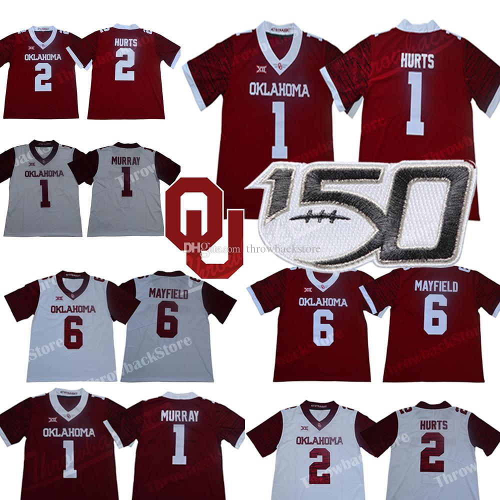 # 1 Jalen Hurts Oklahoma Sooners Jersey Murray Baker Mayfleld Adrian Peterson Samaje Perine NCAA College Football stampa Style Maglie