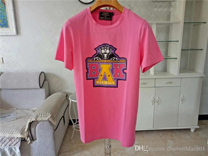 Balmain hombre de las camisetas Rosa Amarillo Hombres Mujeres estilista T Shirts Balmain camiseta del tamaño S-XXL