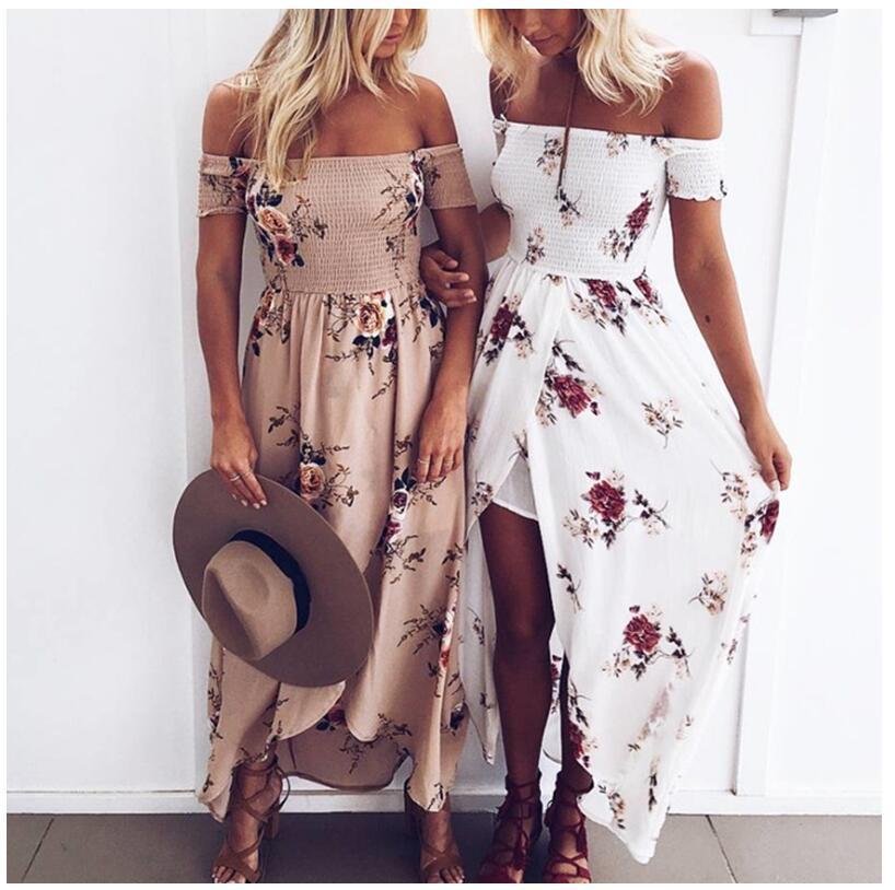 2019 여자 여름 해변 Boho 롱 드레스 숙녀 오프 어깨 꽃 무늬 프린트 드레스 Strapless 섹시한 맥시 Vestidos 파티 드레스 드 페스타