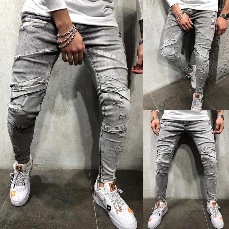 Compre Pantalones Casuales Flacos Pantalones Masculinos Lavada Disenador Gris Jeans Para Hombre Otono Mediados De Cintura Rasgado Larga Para Hombre Lapiz A 21 08 Del Popcornseller Dhgate Com