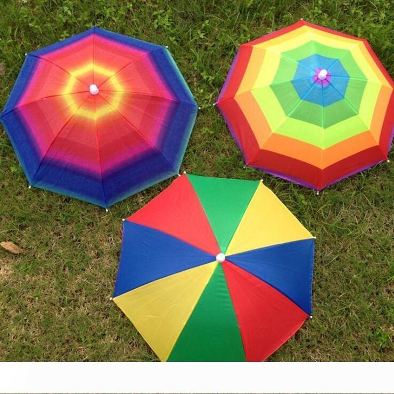 A 3 couleurs arc-en-parapluie pliable Sun Hat pour les enfants adultes Serre-tête réglable chapeau parapluie randonnée pêche parasol extérieur