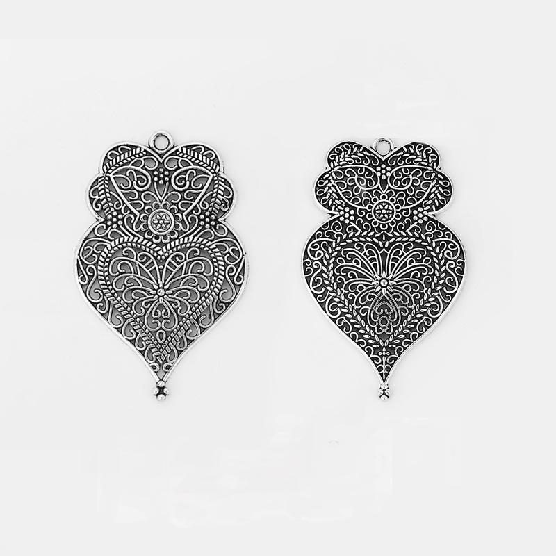 12PCS Antique Silver Large Hollow Filigree Flower Viana Heart Charms Pendants for Necklace Making Jewelry Findings 58x37mm