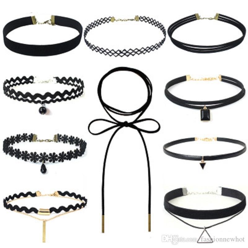 Spitze höhlen Samt-Halsketten-Schwarz-Leder-Seil-Ketten Schicht Statement Chocker Weinlese-gotische Schmuck für Frauen Günstige