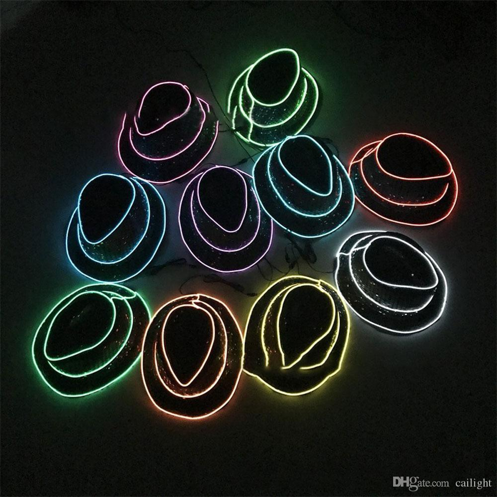 Multi-colore opzionale Cappello luminoso Cappello Linea LED regalo illuminazione luminosa EL Stage Light vestire Neon festa di nozze di Natale degli uomini popolari