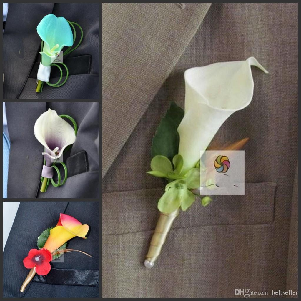 New Wedding Boutonniere Brooch Real Touch Calla Lily Corsages