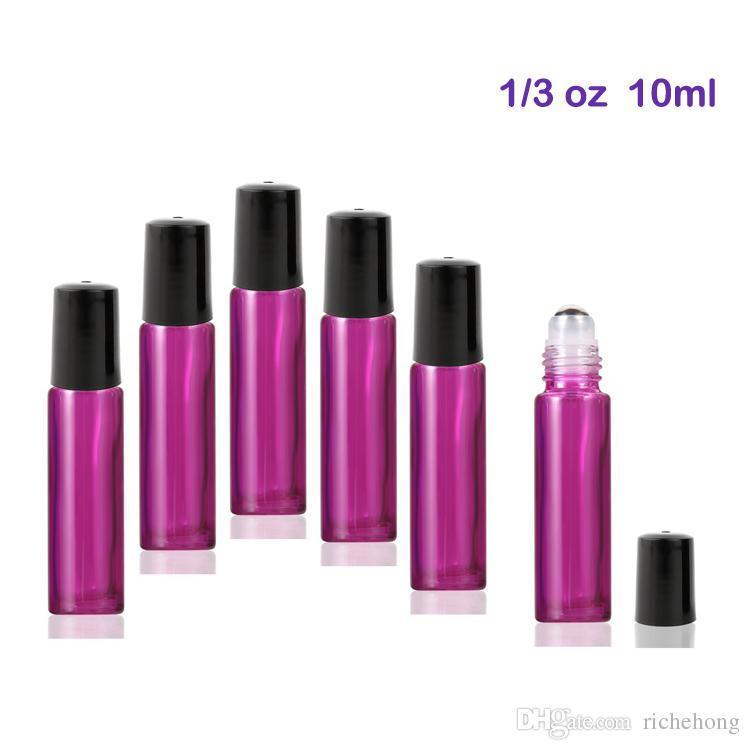 Bottiglie a rullo in vetro da 10 ml con sfere a rullo in acciaio inossidabile per oli essenziali (viola)