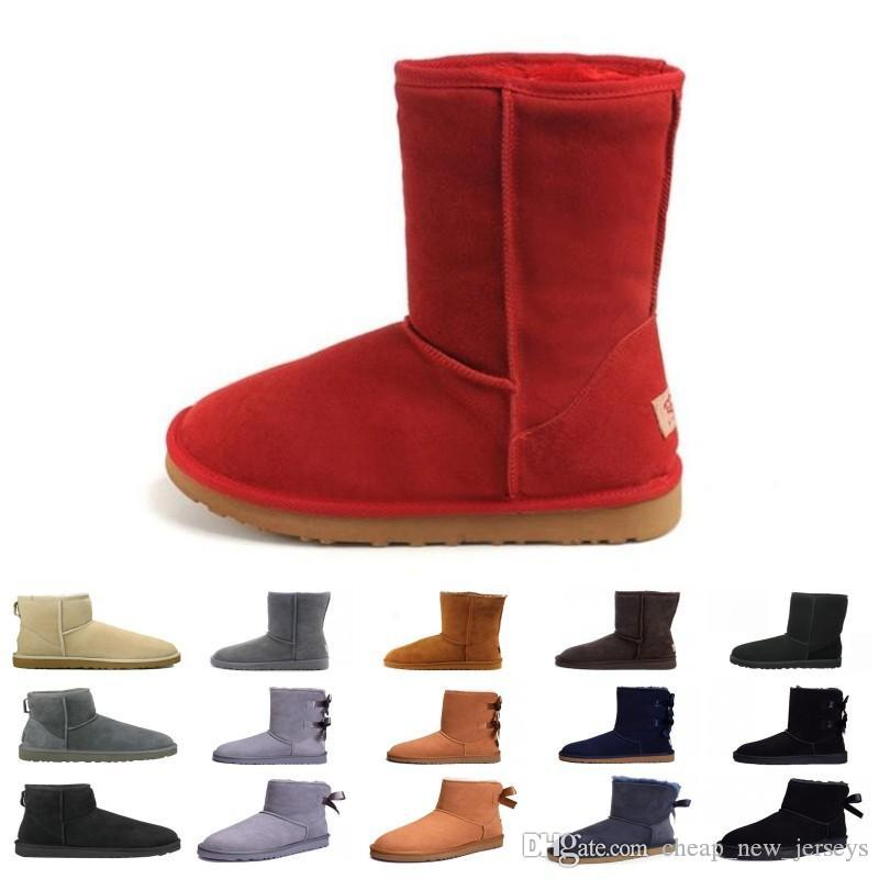 NUEVOS LANZAMIENTOS WGG AUSTRALIA Botas altas clásicas para mujer Botas de nieve para mujer Invierno Mujeres Botas de nieve Botas de cuero Tamaño 5 --- 13