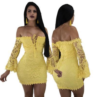 2020 abito stilista sexy di vendita europea e American Standard Code per il vestito di pizzo sexy dal locale notturno estate della cinghia Bra