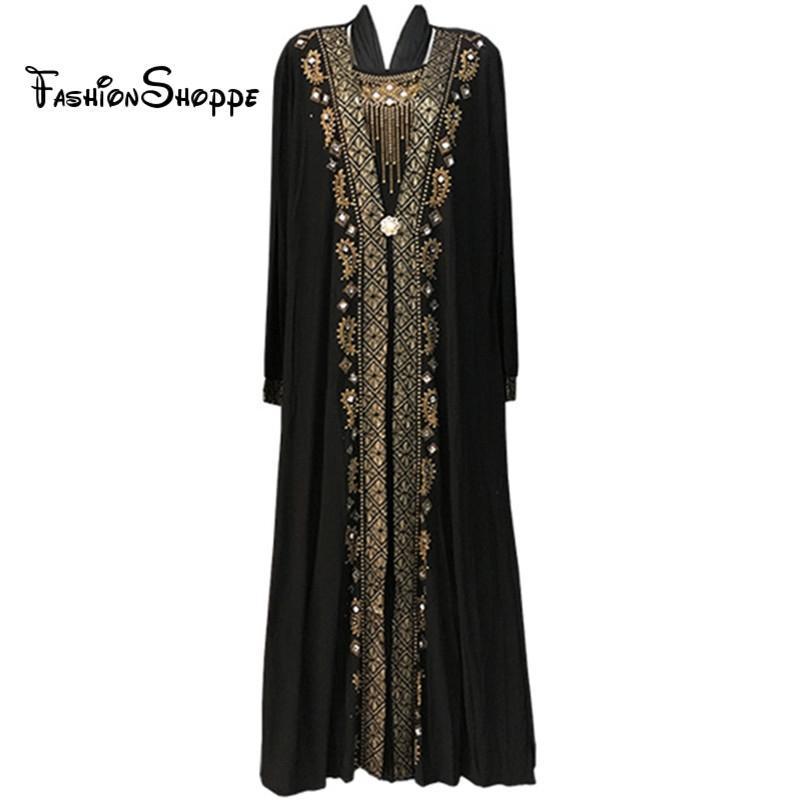 envío libre abaya musulmán negro ropa islámica para las mujeres del bordado de diamantes de imitación Dubai caftán bata de vestir abaya turco